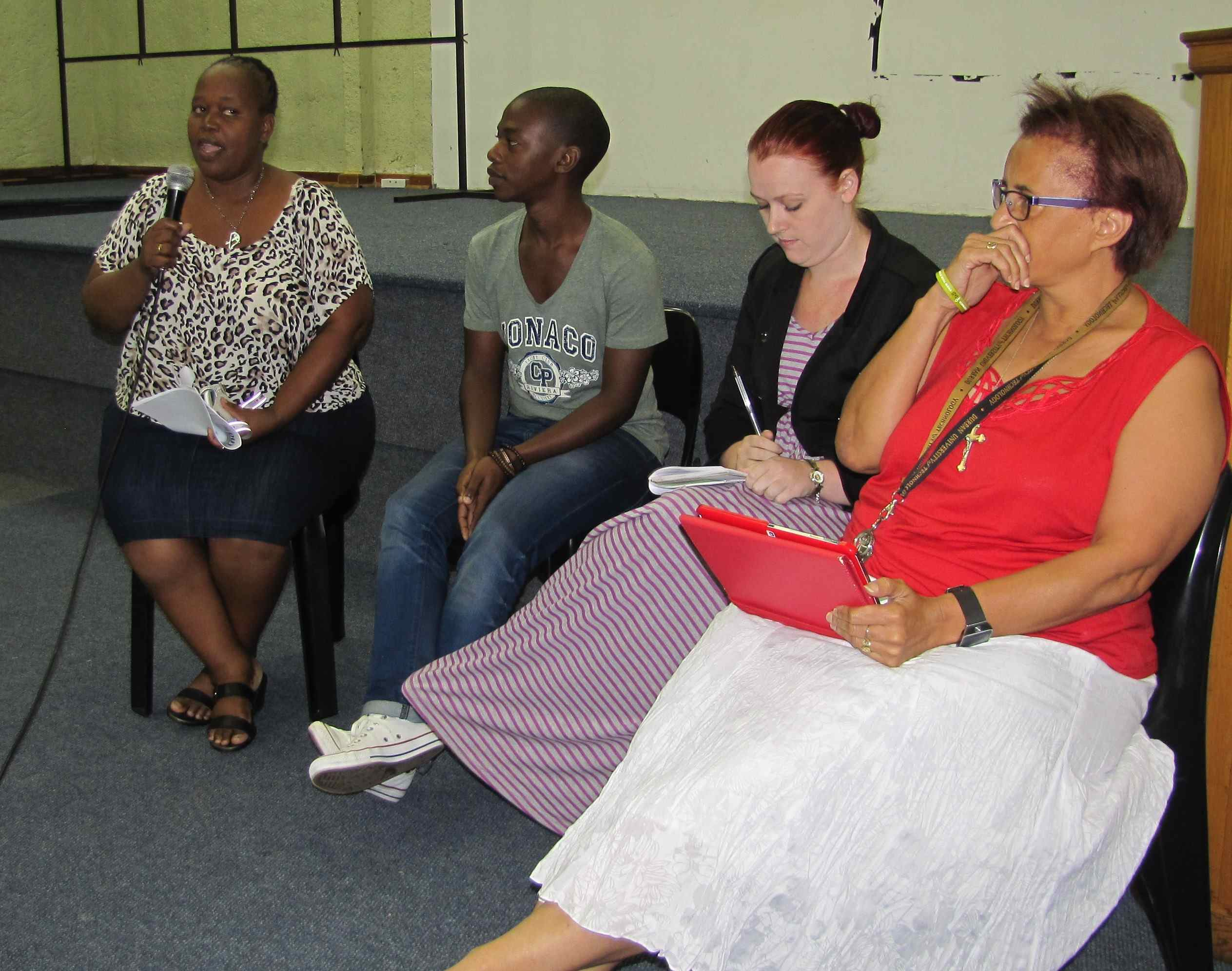 The panel from outside the course: Thobile Zulu, Melusi Dlamini, Jessica Parker, Delysia Timm